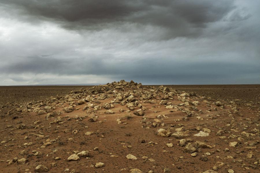 désert, tumulus, Hauts plateaux, Maroc Oriental