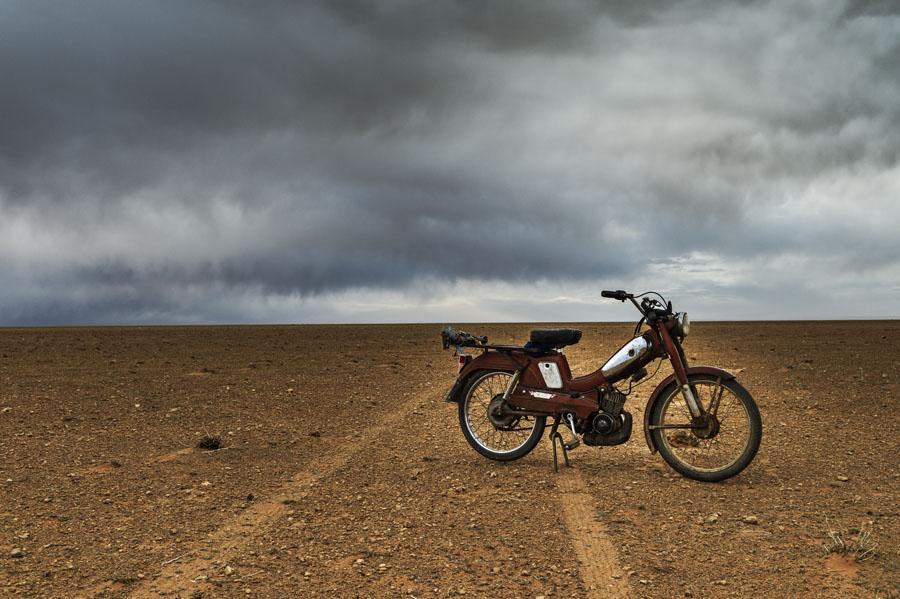 Désert, vélomoteur, Motobécane, Hauts plateaux, Maroc Oriental