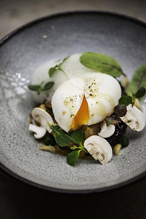 Lyon, restaurant de La Mère Brazier **, fricassée de champignons des bois et œuf mollet, recette de Matthieu Viannay