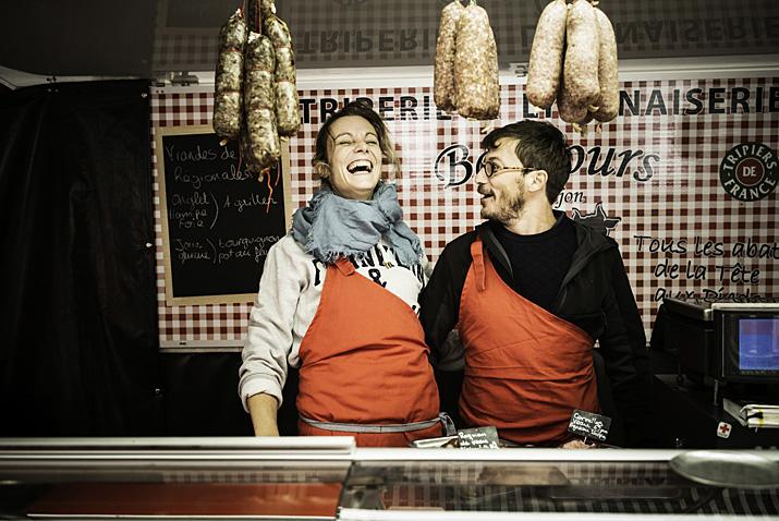 Lyon, marché de la Croix Rousse, triperie Bouhours-Fabrejon