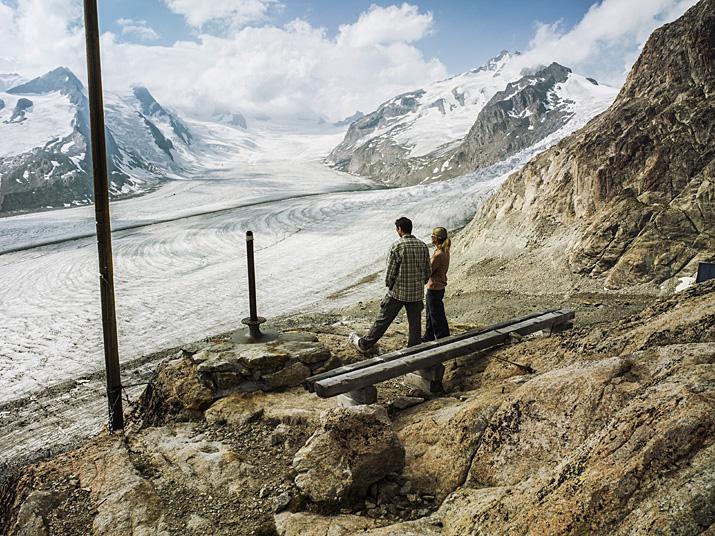 Suisse, Valais, le glacier d'Aletsch, la place Concordia depuis le refuge de Concordia